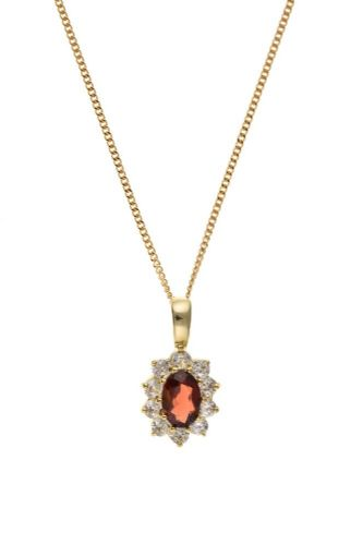 9 Carat Yellow Gold Garnet and Cubic Zirconia necklace with Chain AT5002